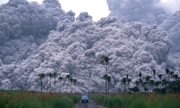 Luzon, PhilippinesPinatubo is a stratovolcano on the island of Luzon.  Pinatubo rose about 5725 feet above sea level before the June 1991 eruption. Almost 500 feet of the volcano was blasted away by this eruption.