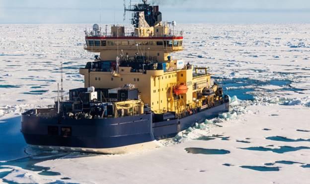 The Swedish icebreaker Oden on its way to the North Pole in August 2018. (Photo: Alfred-Wegener-Institut / Mario Hoppmann, meereisportal.de)